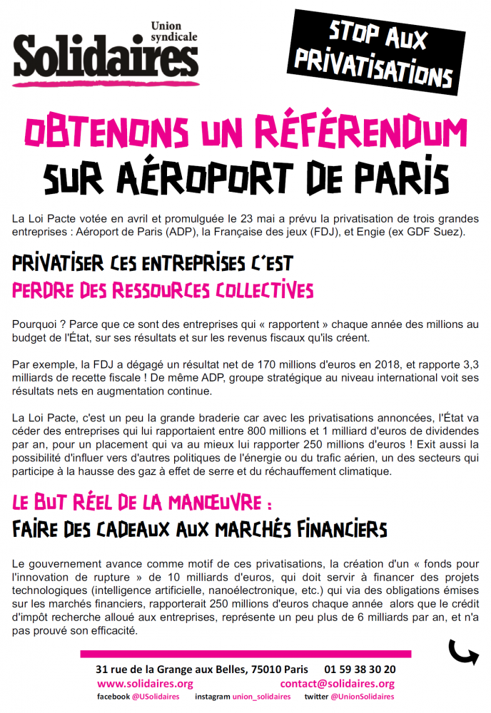 Stop aux privatisations !